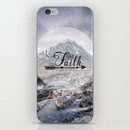 Have Faith Inspirational Typography Over Mountain iPhone Skin