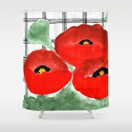 Poppies and Plaid Shower Curtain