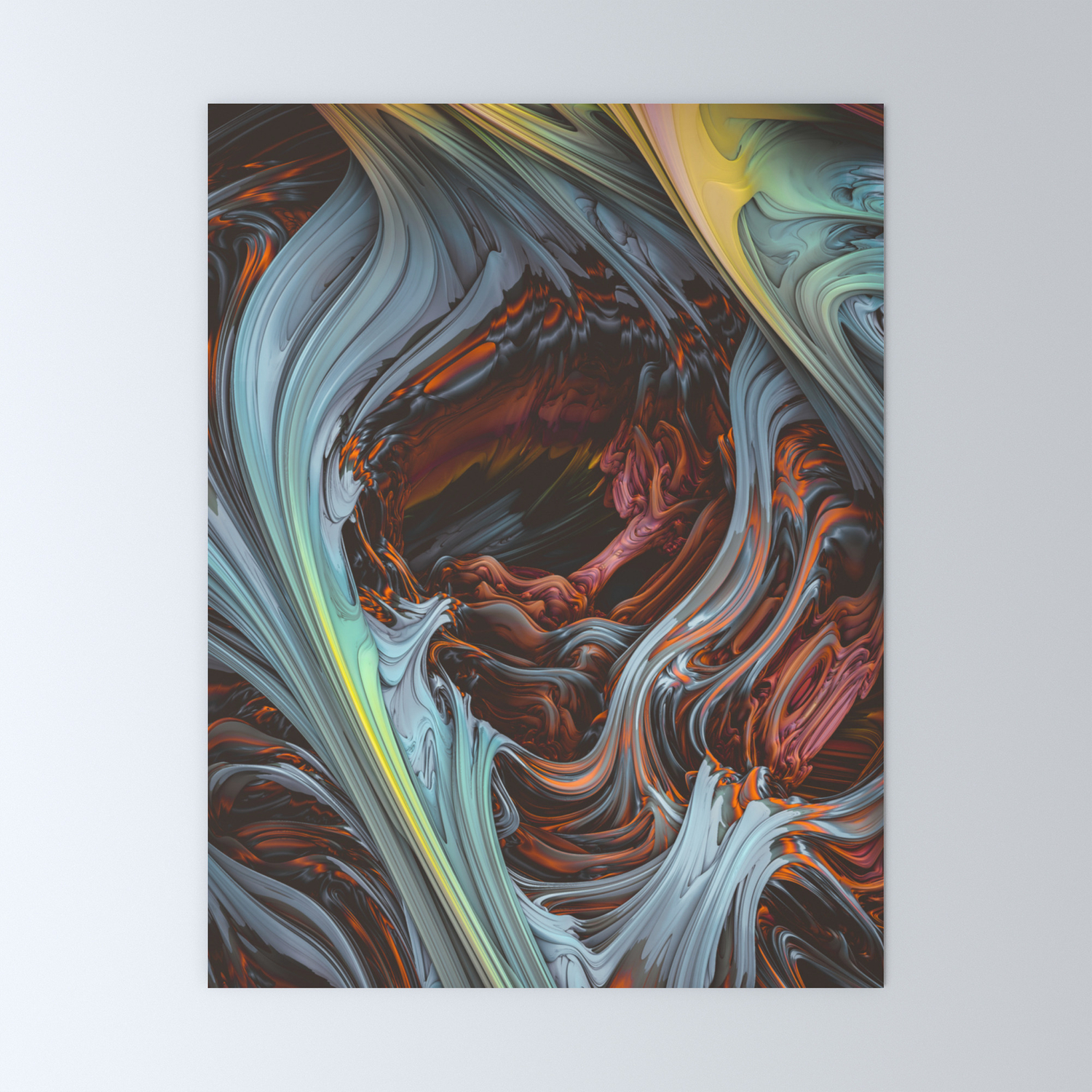 Glacial Mass Ii Wind Fire 3d Abstract Art Mini Art Print By Lovefi Society6