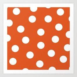 Polka Dots - Flame and White Art Print