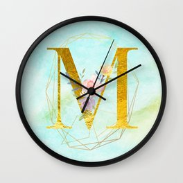 Gold Foil Alphabet Letter M Initials Monogram Frame with a Gold Geometric Wreath Wall Clock