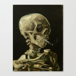 Skull of a Skeleton with Burning Cigarette - Van Gogh Canvas Print