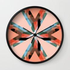 Three Triangles Geometric in Coral Wall Clock