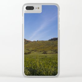 Green Fields Mountains and Blue Sky Clear iPhone Case