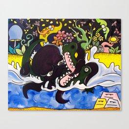 Greedy Octopus vs The Crocodile Canvas Print