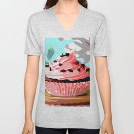 Chocolate Cupcakes with Pink Buttercream Unisex V-Neck