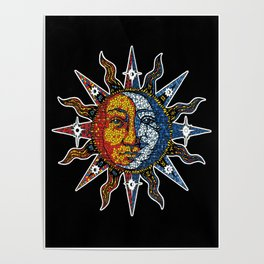 Celestial Mosaic Sun and Moon Poster
