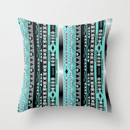 Abstract ethnic pattern in turquoise , black and white . Throw Pillow