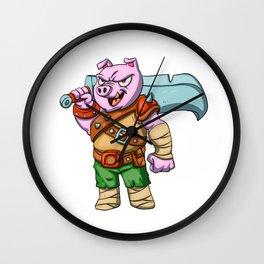 Pig knight cartoon design Wall Clock
