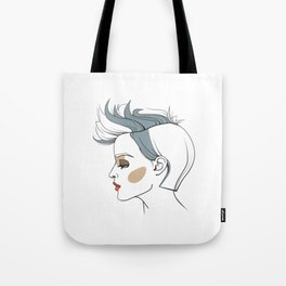 Woman with trendy haircut. Abstract face. Fashion illustration Tote Bag