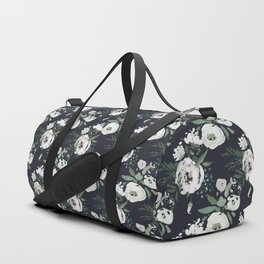 Blush pink white green black watercolor modern floral Duffle Bag