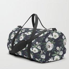 Blush pink white green black watercolor modern floral Duffle Bag