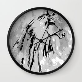 HORSE BLACK AND WHITE Wall Clock