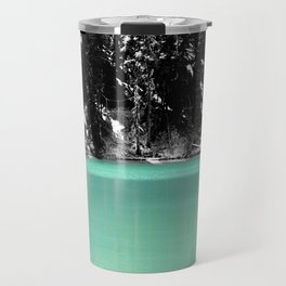 Green Water, Black and White Travel Mug