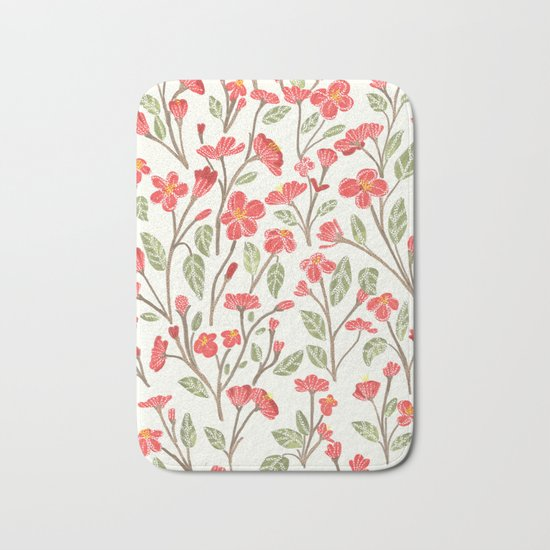 Red Botanical Pattern Bath Mat