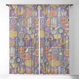 TALISMANS violet blue Sheer Curtain