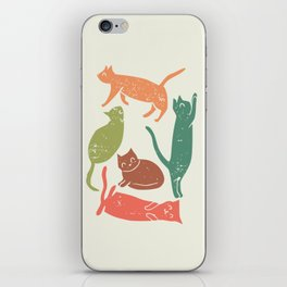 Alley cats whimsical illustration iPhone Skin