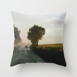 Drive into the Mist Throw Pillow