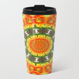 Kaleidoscopic Orange Garden Gazanias Travel Mug