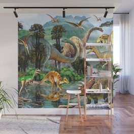 Jurassic dinosaurs drink in the river Wall Mural
