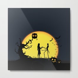 Jack and Sally-Nightmare Metal Print