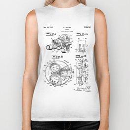 Movie Camera Patent - Film Camera Art - Black And White Biker Tank