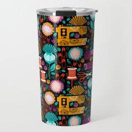 Garden of Sewing Supplies - Black Travel Mug