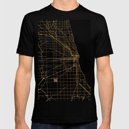 Black and gold Chicago map T-shirt