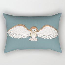 Barn Owl in Teal Rectangular Pillow