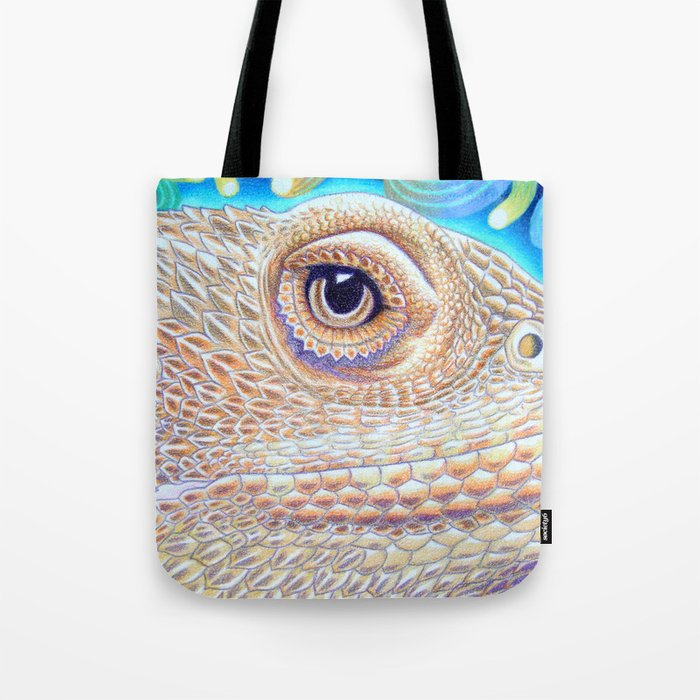 Dragon Star, Bearded Dragon Lizard Art Tote Bag