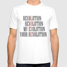My Evolution, Your Revolution White Mens Fitted Tee SMALL
