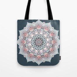 Expansion - boho mandala in soft salmon pink & blue Tote Bag