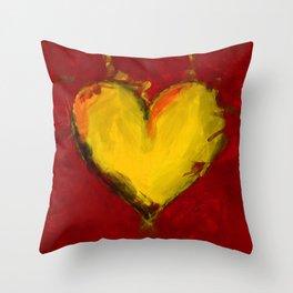 Yellow Hearts Throw Pillow