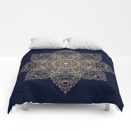 Golden star, mandala Comforters