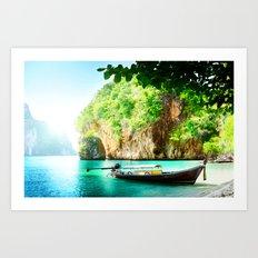 Boat on paradise Art Print