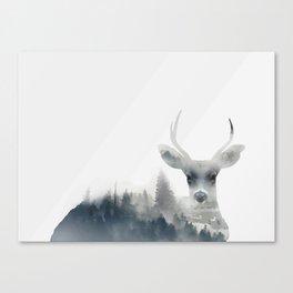 Fearless  winter deer Canvas Print