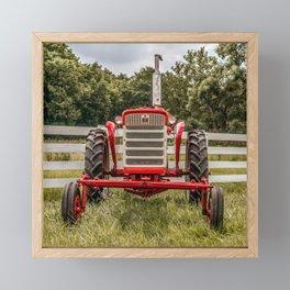 IH 240 Red International Farmall Tractor Front View Framed Mini Art Print