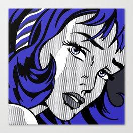Girl with Hair Ribbon03++BlueHair2 Canvas Print