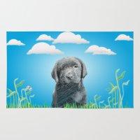 labrador Area & Throw Rugs featuring labrador puppy by Necla Karahalil