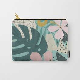 Tropical Fun Pastel Feminine Pink Hibiscus Pattern Carry-All Pouch