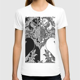 Unity of Halves - Life Tree - Rebirth - Black White T-shirt