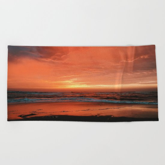 Ocean Waves #sunset Beach Towel