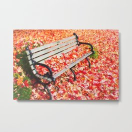Bench in autumn park Metal Print