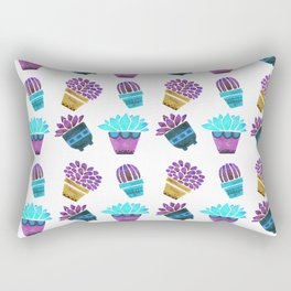 Hand painted teal purple watercolor summer cactus floral Rectangular Pillow