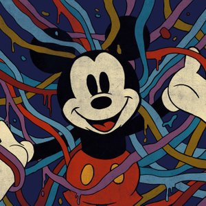 illustration of Mickey Mouse surrounded by colorful ribbons