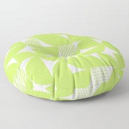 Lime Green Mid Century Bauhaus Semi Circle Pattern Floor Pillow