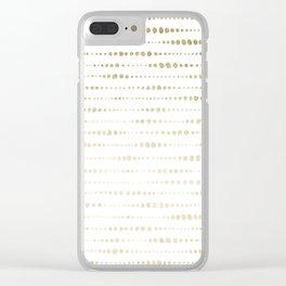 Modern Gold Polka Dot Stripes Clear iPhone Case