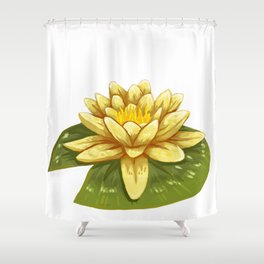 Cute Yellow Lily Pad Shower Curtain