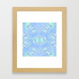 Watercolor blue crab Framed Art Print