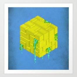 Cubic - Blue Art Print